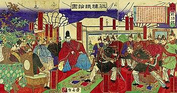 "The Korean affair debate (""Seikanron""). Saigo Takamori is sitting in the center. 1877 painting."