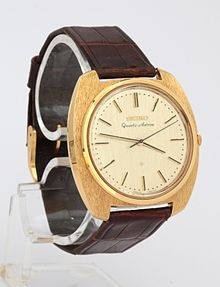 First commercial quartz watch, only 100 copies sold at Tokyo on Christmas 1969.