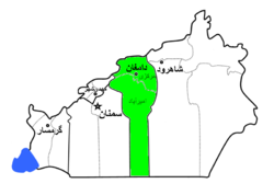 Damghan County highlighted in Semnan Province