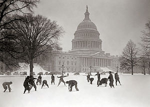 United States Senate Page - Senate Pages having a snowball fight in front of the Capitol, ca. 1925