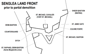 Fort Saint Michael - Image: Senglea Land Front map