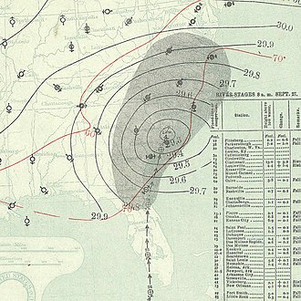 1894 Atlantic hurricane season - Image: September 27, 1894 hurricane 4 map