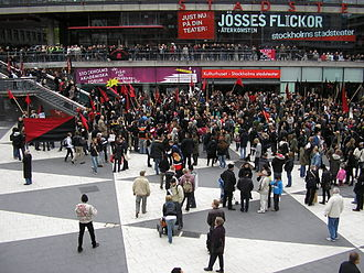 Sergels torg - A May Day demonstration.