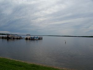 Shawano County, Wisconsin - Shawano Lake, from the east shore in Cecil looking west