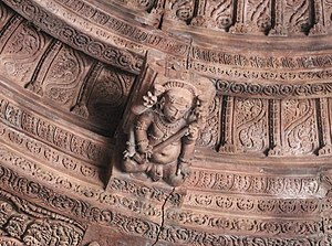 Gana - Sculpture of a Gana on the ceiling of the Shiva Temple in Bhojpur, India