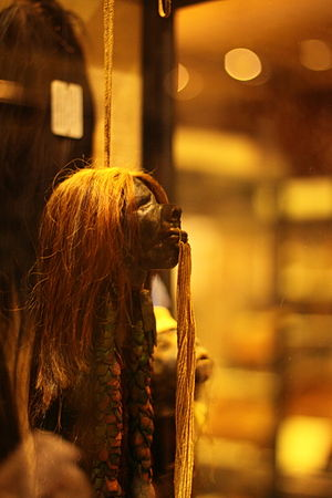 Shuar - Tsantsa or shrunken head in the Pitt Rivers Museum.