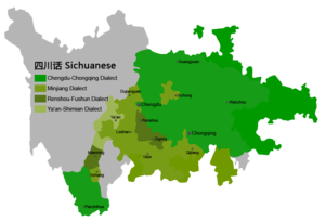 Sichuanese dialects - map showing locations of Sichuanese dialects