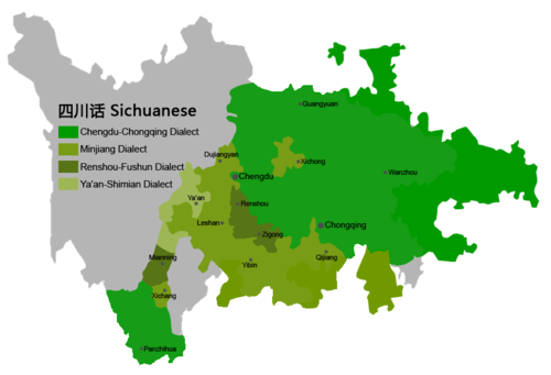 map showing locations of Sichuanese dialects