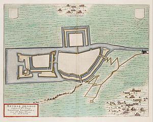 Siege of Meurs (1597) - Image: Siege of Moers (Meurs) by Maurice of Orange in 1597 Mevrsae Obsidio