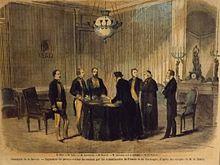 Croquis de la signature du procès-verbal de cession de la Savoie la France au château de Chambéry en 1860