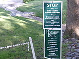 Sign giving instructions about the Armand Hammer Golf Course