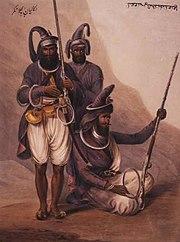 "Sikhs with chakrams, inscribed ""Nihang Abchal Nagar"" (Nihangs from Hazur Sahib), 1844"