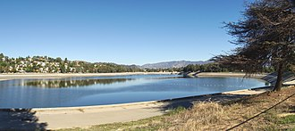 Silver Lake Reservoir - View to the northwest across lower reservoir
