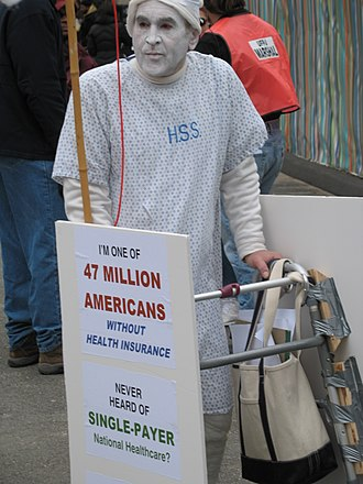 Healthcare reform debate in the United States - Costumed supporter of single-payer at an April 2009 protest in New York City.