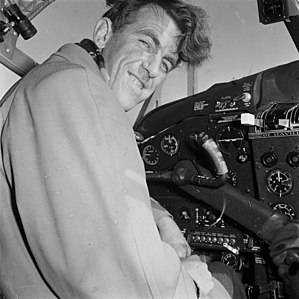 Commonwealth Trans-Antarctic Expedition - Hillary in the Cockpit of the RNZAF DHC-2 Beaver aircraft that supported his team, 1956.