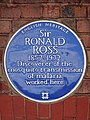 Sir Ronald Ross 1857 - 1932 discoverer of the mosquito transmission of malaria worked here.jpg