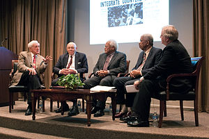 Nashville sit-ins - A panel including John Seigenthaler (left) and James Lawson (center) discuss media coverage of the Nashville sit-ins.