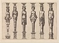 Six terms, four female and two male, with Hercules at far right, plate 1, from Caryatidum -...- sive Athlantidum multiformium ad quemlibet Architecture ordinem Accommodatarum centuria prima -...- MET DP272664.jpg
