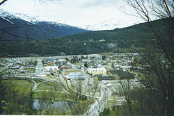 View of downtown Skagway from a nearby hillside.
