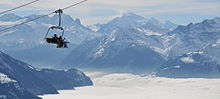 Ski Lift to the slopes above Villars