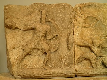 Slab from the Amazonomachy frieze from the Mausoleum at Halikarnassos, Mausoleum at Halicarnassus, British Museum (8245667430).jpg
