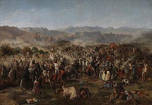 Batalla de Las Navas de Tolosa, de Van Halen, expuesta en el palacio del Senado (Madrid). Pintura al óleo.