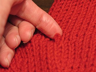Knitted fabric - A dropped stitch, or missed stitch, is a common error that creates an extra loop to be fixed.