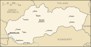 Abovce - Image: Slovakia map