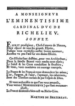 Martine Bertereau - Sonnet dedicated to Cardinal Richelieu written by Martine Bertereau in her book The Return of Pluto, 1640.