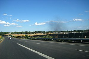Melville, New York - LIE Service Road at Exit 49S. The site of the future Canon USA headquarters is visible, as is smoke from a fire in Farmingdale.