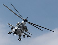 South African Rooivalk Attack Helicopter over FIB base in Sake 2014.JPG