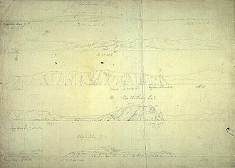 William Westall - South Coast: Cape Leeuwin, Cape Chatham and Eclipse Isles, Westall's first sketch of an Australian landscape