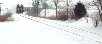 Tippecanoe County, Indiana - A freight train approaches the town of South Raub on the border of Randolph and Wea Townships.