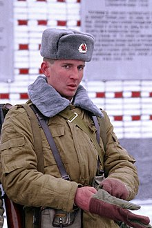 015296bb54b23 Russian soldier wearing the winter Afghanka uniform and Ushanka