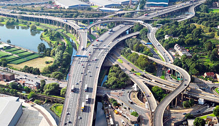 The Gravelly Hill Interchange, where the M6 motorway meets the Aston Expressway, is the original Spaghetti Junction. Spaghetti-Junction-Crop.jpg