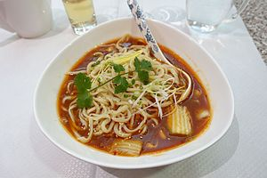 Noodle - A bowl of spicy beef noodles.