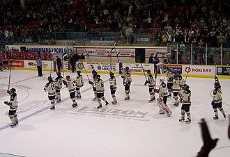 Windsor Spitfires - Spitfires salute fans in Windsor Arena as Oshawa Generals look on (November 2008).