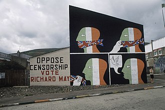 1988–94 British broadcasting voice restrictions - An Irish republican anti-censorship mural in Belfast
