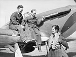 Squadron Leader Peter Townsend chatting with ground crew on his Hawker Hurricane at Wick, Scotland, 1940. CH87.jpg
