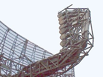 Parabolic antenna - Array of multiple feed horns on a German airport surveillance radar antenna to control the elevation angle of the beam