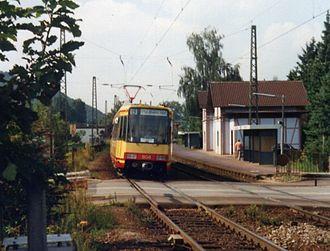 Karlsruhe–Mühlacker railway - Stadtbahn train running from Karlsruhe to Pforzheim at Söllingen station in 1991.