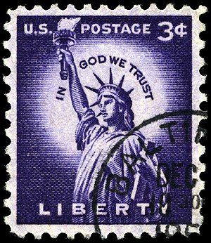 Liberty Issue - Image: Stamp US 1954 3c Liberty