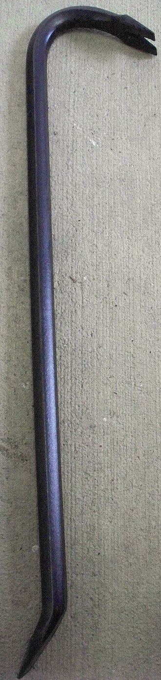 Crowbar (tool) - A crowbar with a curved chisel end to provide a fulcrum for leverage and a swan neck to pull nails