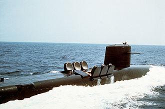 USS Woodrow Wilson (SSBN-624) - A starboard view of Woodrow Wilson underway, February 1, 1991