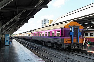Rail transport in Thailand - Second-class carriage of the State Railway of Thailand at Bangkok railway station