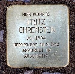 Photo of Fritz Ohrenstein brass plaque