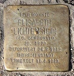 Photo of Elisabeth Lichtenstein brass plaque