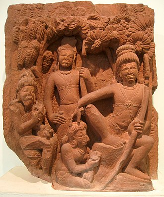 Ahalya - Ahalya offering fruits and flowers to Rama, her saviour, in a 5th-century CE stone sculpture from Deogah, currently in the National Museum, New Delhi