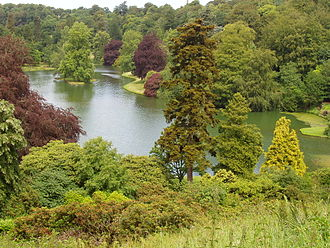 Stourhead - Stourhead's lake and foliage as seen from a high hill vantage point