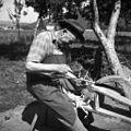 """Strle Janez, Vrhnika, """"dela obroč pri košu- ga obrezuje 1962.jpg"""